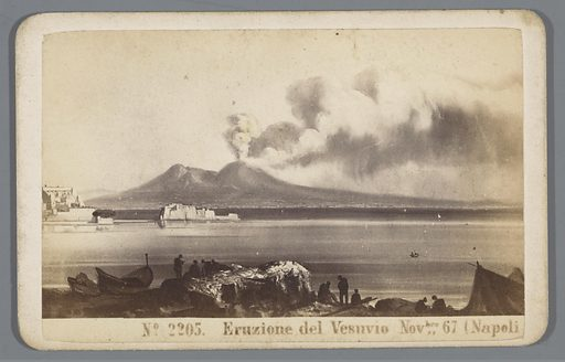 Photo reproduction of a painting of an eruption of Mount Vesuvius