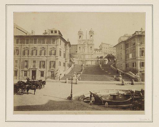 Spanish Steps in Rome with the Trinità dei Monti at the top. Origin: Rome. Date: c 1865 – c 1890. Object ID: RP-F-F01184-X.
