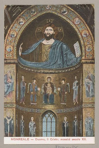 Mosaic of Christ in the Cathedral of Monreale in Sicily. Date: c 1900 – in or before 1910. Object ID: RP-F-F01141-DC.