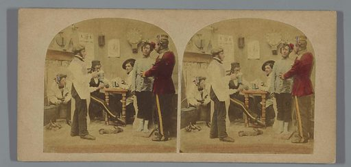 Man is being measured in a pub. Date: 1852 – 1863. Object ID: RP-F-F10774.