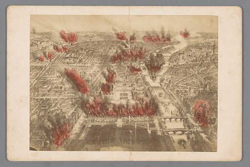 Photo reproduction of a print of the fires during the Bloody Week of the Paris Commune in 1871. Date: 1871 – 1895. Object ID: RP-F-F19682.