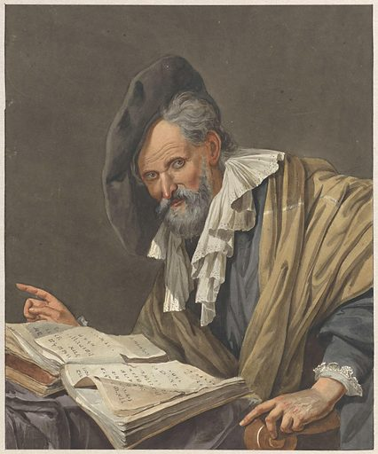 Man with beret and a book
