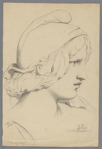 Female head. Date: 1848. Object ID: RP-T-1950-192.
