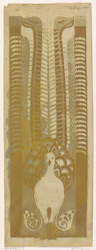 Decorative design with a lyrebird. Date: 1874 – 1945. Object ID: RP-T-1969-1011.