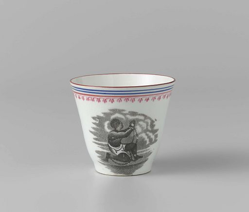This cup and saucer were probably made for a Dutch anti-slavery committee. Such women's groups sold embroidery, jewellery and chinaware for the benefit of the slaves in 'the West'. The decoration is after a design by the English porcelain manufacturer Josiah Wedgwood, a leading supporter of the anti-slavery movement. The English abolished slavery in 1833. In Suriname and the Dutch Antilles, this took place only in 1863. Origin: ? England. Date: c 1853 – c 1863. Object ID: NG-1994-53-A.