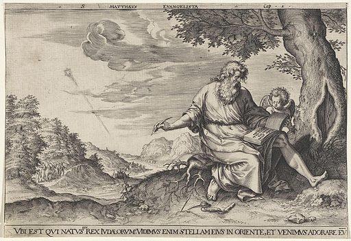Landscape with Evangelist Matthew. Origin: Antwerp. Date: 1580. Object ID: RP-P-OB-66.919.