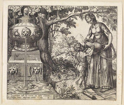 Hagar gives Ishmael a drink. Origin: Haarlem. Date: 1580. Object ID: RP-P-1878-A-2851.