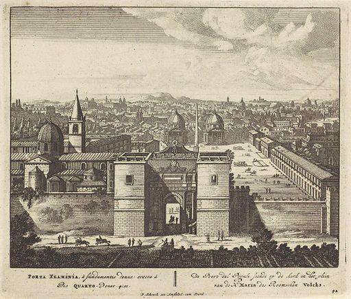 View of the Porta del Popolo, in Rome. Origin: Amsterdam. Date: 1675 – 1711. Object ID: RP-P-1907-5729.