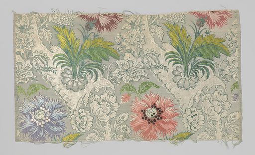 Fragment gros de Tours with a pattern of multicoloured carnations on gray-green ground