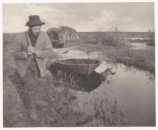 Used in the construction of houses, reed was an important product in East Anglia. Emerson shows how the reed was harvested and processed in various photographs in Life and Landscape on the Norfolk Broads. Here we see a man on a towing path pulling a fully loaded boat. This more sociological angle typifies Emerson's publications. Origin: Great Britain. Date: 1885 – 1886. Object ID: RP-F-F80155.