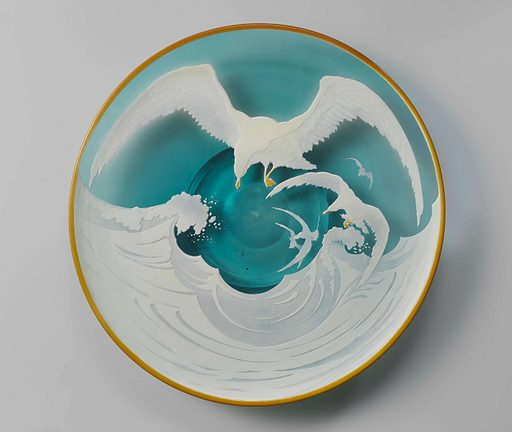 This spectacular dish is inspired by Japanese prints. It is built up of layers of different coloured glass. The top layer of white glass was removed around the image by immersing the dish in an acid bath; the image itself was protected by an acid-resistant material. This technique is called cameo glass. Date: c 1880. Object ID: BK-C-2000-3.