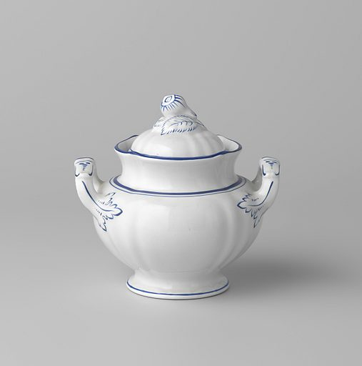 Sugar bowl with lid, white, with blue piping and pear-shaped lid knob. Origin: Maastricht. Date: c 1860 – c 1890. Object ID: BK-1983-223-C.