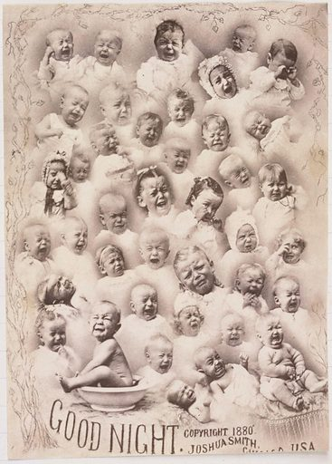 Composition portrait of crying babies