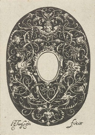 Oval with stylized tendrils and an empty compartment in the center. Origin: ? Amsterdam. Date: 1615 – c 1630. Object ID: RP-P-1906-2377.