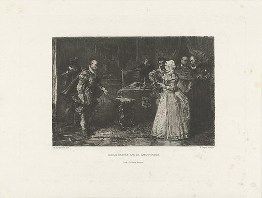 Alva visits the Governor-General Margaret of Parma, 1567. Origin: Germany. Date: 1871 – 1873. Object ID: RP-P-1906-448.