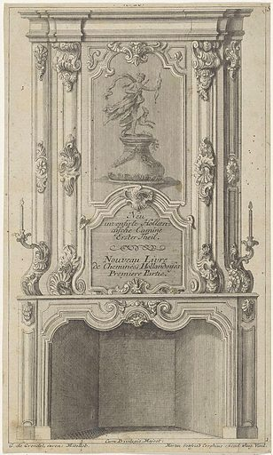 Design for a chimney with Diana as goddess of the hunt. Origin: Middelburg. Date: 1732 – 1765. Object ID: RP-P-1908-1972.