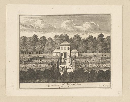 Garden labyrinth with pheasants at Honselaarsdijk Palace. Origin: Amsterdam. Date: 1695 – 1757. Object ID: RP-P-AO-10-80-11B.