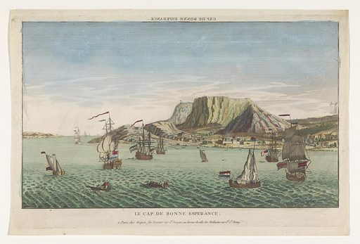 View of the Cape of Good Hope in South Africa. Origin: Paris. Date: 1735 – 1805. Object ID: RP-P-1921-789.