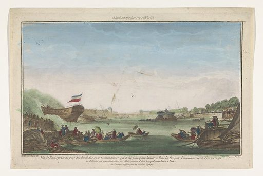 View of the Port des Invalides in Paris with the expiration of the Paris frigate on February 18, 1761. Origin: Paris. Date: 1761 – 1805. Object ID: RP-P-1921-756.