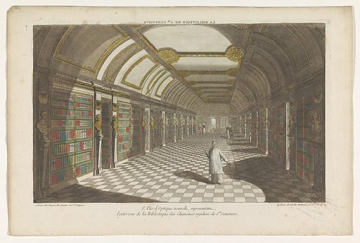 View of the library of the Abbey of Sainte-Geneviève in Paris. Origin: Paris. Date: 1735 – 1805. Object ID: RP-P-1925-1197.