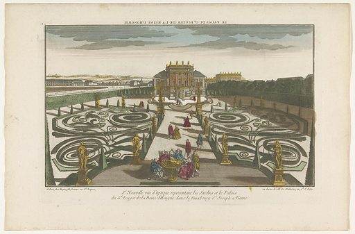 View of the garden and palace of an officer of the Queen of Hungary in a suburb of Vienna. Origin: Paris. Date: 1735 – 1805. Object ID: RP-P-1925-1284.