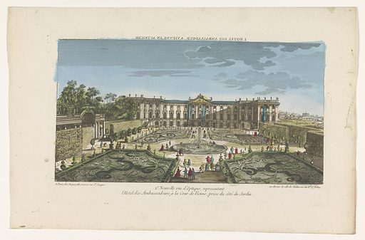 View of the garden and the Hotel des Ambassadeurs in Vienna. Origin: Paris. Date: 1735 – 1805. Object ID: RP-P-1925-1285.