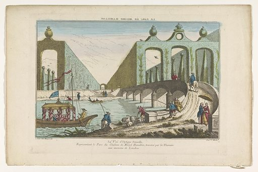 View of a park crossed by the River Thames near the city of London. Origin: Paris. Date: 1735 – 1805. Object ID: RP-P-1925-1375.