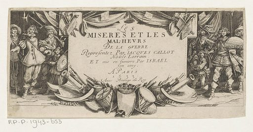 Soldiers flank tablet. Origin: Paris. Date: 1633. Object ID: RP-P-1943-653.