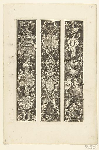 Three vertical strips with compartments. Origin: ? Netherlands. Date: after 1703 – before 1800. Object ID: RP-P-1964-3177.