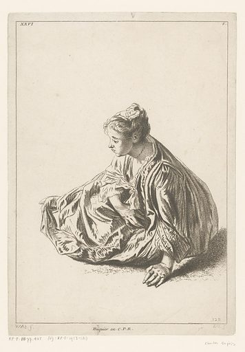 Seated woman. Origin: France. Date: 1710 – 1742. Object ID: RP-P-OB-77.405.