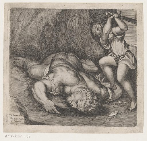 David beheads Goliath. Origin: Venice. Date: c 1627 – after 1669. Object ID: RP-P-2005-175.