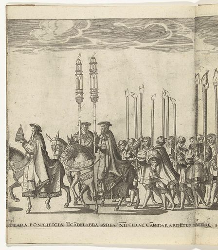 Papal tiara and candlesticks, plate 16. Date: 1620 – 1699. Object ID: RP-P-OB-78.626-17.