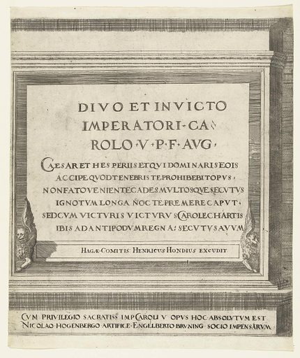 Sheet with the dedication to Charles V, dedication. Origin: The Hague. Date: 1615 – 1620. Object ID: RP-P-OB-78.622.