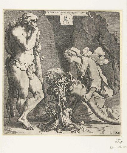Fortuna offers the cornucopia to Hercules. Origin: Netherlands. Date: 1617. Object ID: RP-P-OB-100.054.
