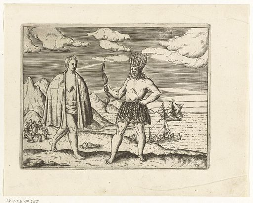 Husband and wife of Tierra del Fuego, 1600. Origin: Northern Netherlands. Date: 1617 – 1619. Object ID: RP-P-OB-80.285.