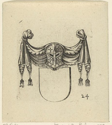 Coat of arms crowned with a helmet under a drapery. Origin: Amsterdam. Date: 1625. Object ID: RP-P-OB-6431.