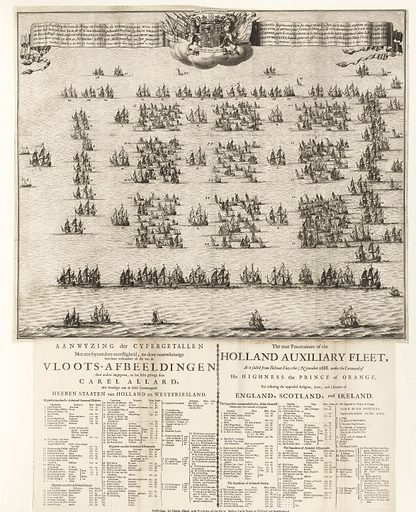Formation of the fleet with which William III sailed to England, 1688. Origin: Northern Netherlands. Date: 1688 – 1689. Object ID: RP-P-OB-82.793.