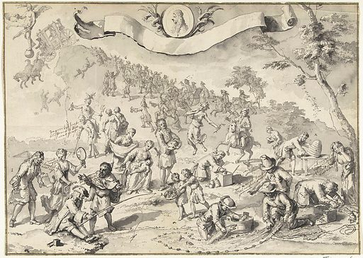 Draft for the print Greed tries to overtake Fortuna, 1720. Origin: Northern Netherlands. Date: 1720. Object ID: RP-T-00-3664.