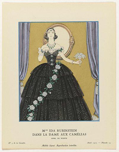 """Gazette du Bon Ton, 1923, no. 5. 19: Mme Ida Rubinstein dance """"La Dame aux Camélias""""."""
