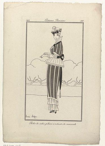 Journal des Dames et des Modes, Costumes Parisiens, 1914, No 138: Robe de satin (…). Date: 1914. Object ID: RP-P-2009-1711A.
