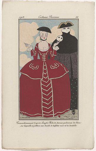 Journal des Dames et des Modes, Costumes Parisiens, 1913, No 56: Travestissement d'après Longhi: (…).