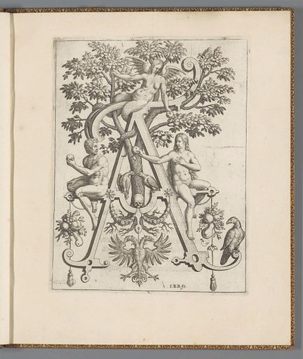 Letter A with Adam and Eve