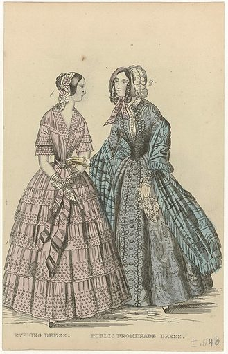The Ladies' Cabinet of Fashions, c 1846: Evening dress (…). Origin: London. Date: c 1846. Object ID: RP-P-2009-2634.