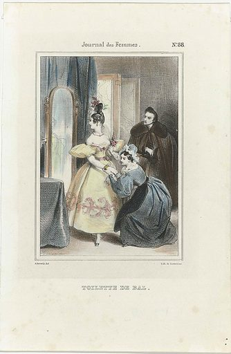 Journal des Femmes, 1832–1837, no. 88: Toilette de Bal. Origin: Paris. Date: 1832 – 1837. Object ID: RP-P-2009-3131.