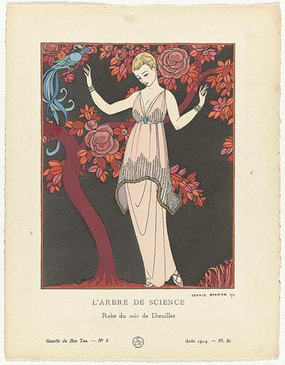 Gazette du Bon Ton 1914, No 8. 80: L'Arbre de science / Robe du soir de Doeuillet.