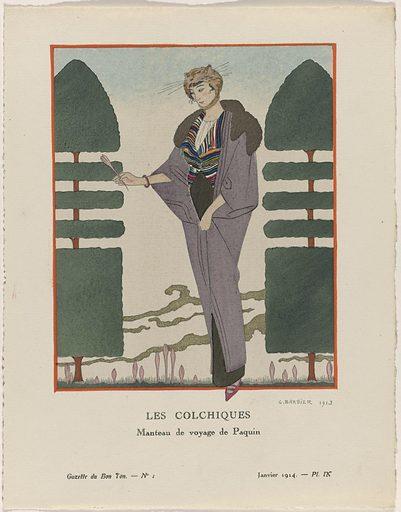 Gazette du Bon Ton, 1914 – No 1. IX: Les Colchiques / Manteau de voyage de Paquin.