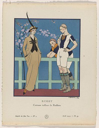 Gazette du Bon Ton, 1914 – No 4. 39: Rugby / Costume tailleur de Redfern.