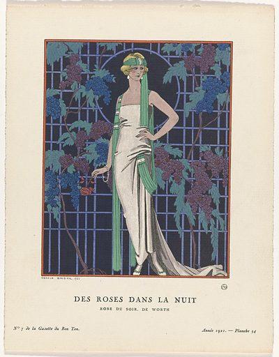 Gazette du Bon Ton, 1921 – No 7. 54: Des robes dans la nuit / Robe du soir, the Worth.