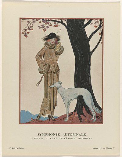 Gazette du Bon Ton, 1922 – No 9: Symphonie automnale / Manteau, et Robe d'après-midi, de Worth.