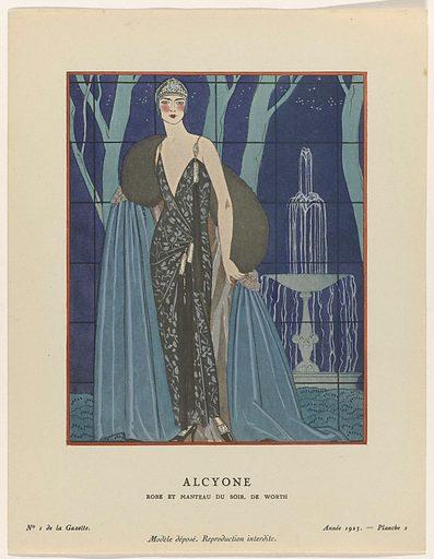 Gazette du Bon Ton, 1923 – No 1. 2: Alcyone / Robe et manteau du soir, Worth.